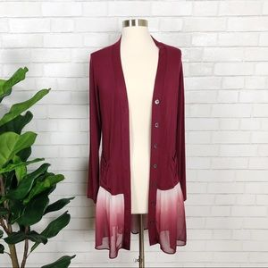 LOGO Wineberry Knit Cardigan Sheer Ombré Size XS